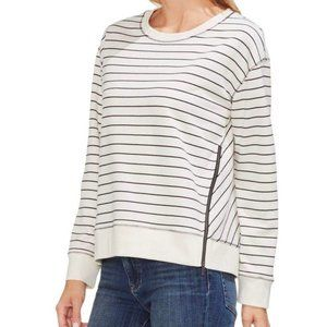 NWT Vince Camuto Stripe Jersey Side Zip Pullover